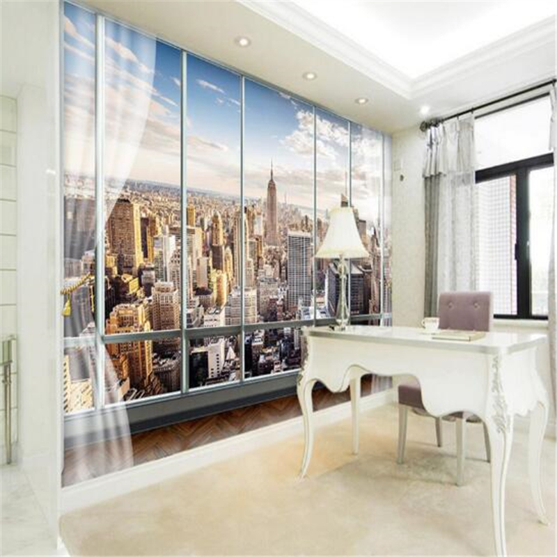 Custom Photo Wallpaper 3D Stereo Large Murals Modern False windows living sofa bed bedroom New York flash silver cloth wallpaper<br><br>Aliexpress
