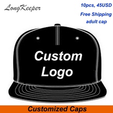 LongKeeper Wholesale 10PCS/LOT Snap Back Adult Embroidery Logo Customize Cap Custom Baseball Hat Custom Snapback Cap(China)