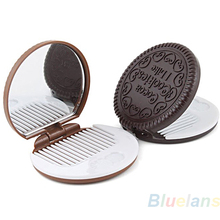 Cute Cookie Shaped Design Mirror Makeup Chocolate Comb 021G 2T6Q