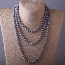 Free Shipping Fashion Bohemian Jewelry knotted long Halsband Gary Crystal Bead Necklace(China)