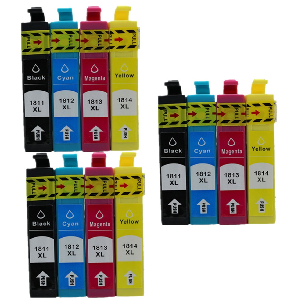 3 Full set  T1811 T1801 E-1801 T18 Ink Cartridges for Epson Expression Home XP-205 XP-212 XP-215 302 312 402  412 inkjet printer<br><br>Aliexpress