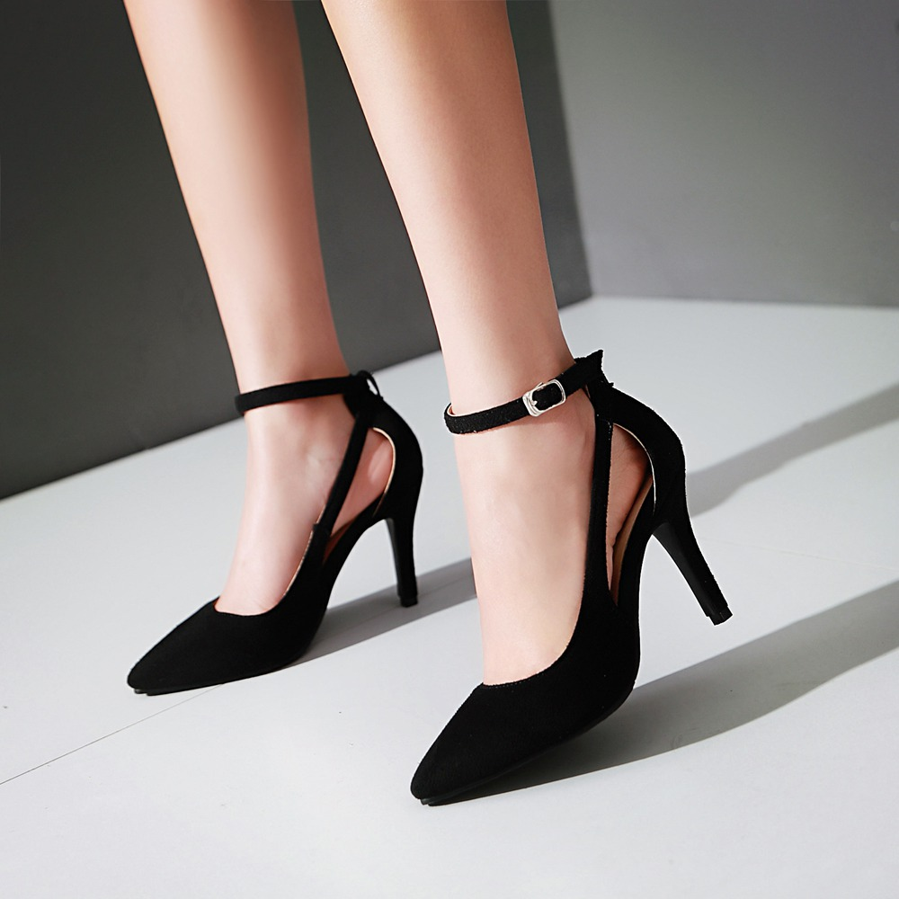 Big Size 34-43 Sexy Women Pumps Fashion Pointed Toe Ankle Strap Pumps Shallow Mouth Soft Thin High Heels Black Red<br><br>Aliexpress