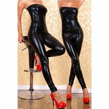 Buy New Sexy Women Black Faux Leather Shoulder Jumpsuit Bodysuit Sexy Erotic Night Club Wear Latex Vinyl Strapless Long Catsuit