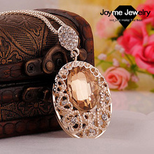 Newest Fashion Women sweater chains necklaces & pendants Cheap Wholesale Luxury Hollow Out Big Oval crystal long Necklace