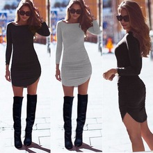 autumn spring Winter warm cotton dress Women pocket long sleeve bodycon dress Sexy slim gray casual short vestidos de fiesta