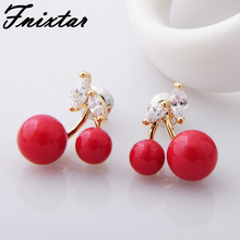 Fnixtar Trendy Stud Earrings Fashion Jewelry 2017 Gold Color Crystal Red Pearl Women Earring Female Beauty Jewelry Earrings