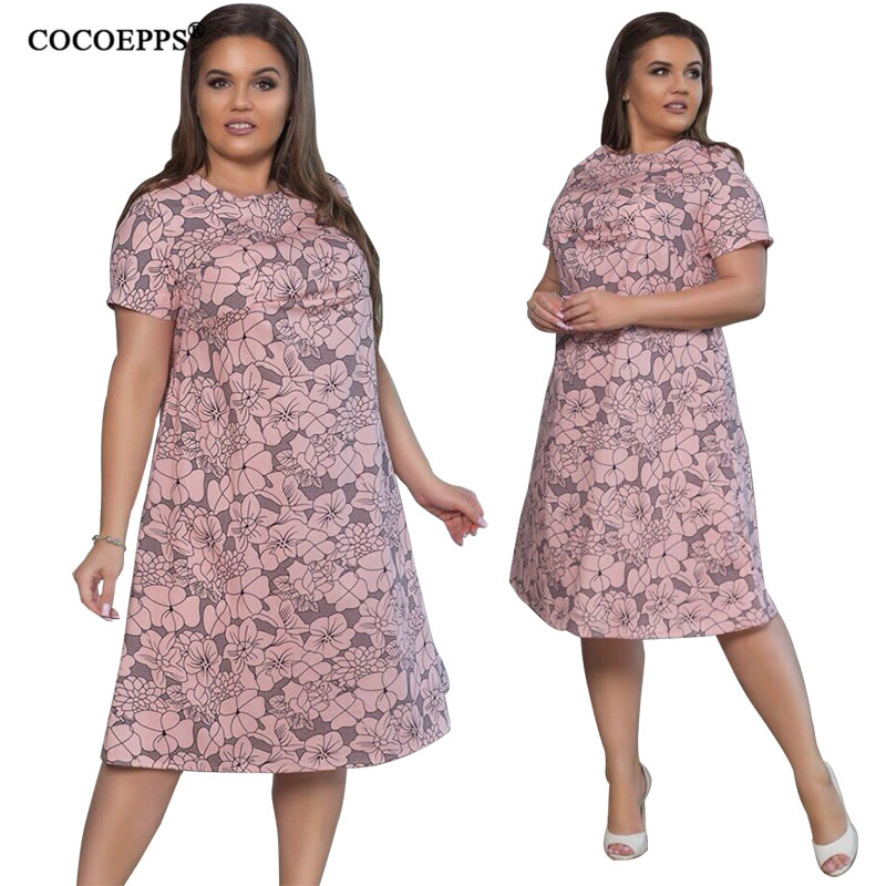 2018 L-6XL Summer Plus Size Women Dress Flower Print Large Size Fashion Dresses Casual Women Clothing Big Sizes Dress Vestidos 22