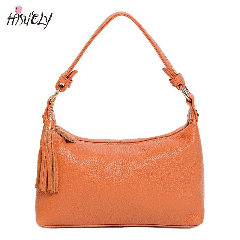 Cowhide women genuine leather handbag female hobos Tassel shoulder bags high quality leather tote bag bucket bag ladies classic <br>