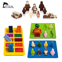 3 Pcs/set Different Shaped Lego Silicone Mold Robot For Candy Chocolate Block Ice Cube Tray Building Bricks Jelly Cake Mould