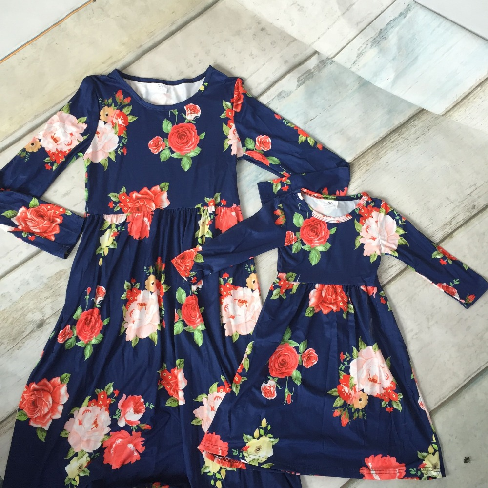 Buy New Fall Winter Baby Girls Children Clothes Mom N Bab Girl Set Blue Flower Size 12m Boutique Family Look Mommy Child Navy Milk Silk Ankle
