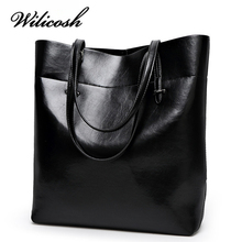 High Quality Leather Bag Female Fashion Shoulder Bags Women Oil Wax Handbag Large Capacity bolsos mujer Top-handle Bags WBS026
