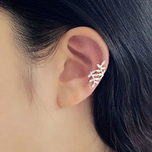 1 Pcs Women Girls Trendy New Punk Rock Retro Earring Gold Silver Plated Leaf Ear Cuff Warp Clip Ear Stud Fashion Wholesale