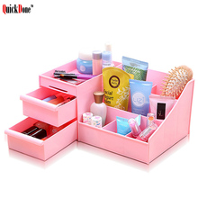 QuickDone Makeup Drawer Storage Box Cosmetics Jewelry Sundries Plastic Organizer Container Case Desk Table Display Boxes AKC6104(China)