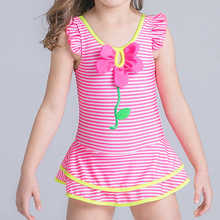 Skirt One Piece Swimsuit For Girls 2017 Striped Children Swimwear 6-16 Year Kids Bikini Child Floral Bathing Suit Baby Beachwear(China)