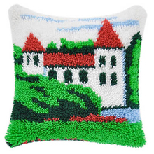 Country place  DIY Unfinished Crocheting Yarn Mat Latch Hook Rug Kit Floor Mat Santa Claus Picture Carpet Set