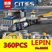 LEPIN 02025 360Pcs City Series High Speed Racer Transporter Set Children Educational Building Blocks Bricks Toys Model 60151(China)