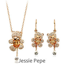 Jessie Pepe  Lovely Teddy Bear Jewelry Set Austrian Crystal  Welcome Wholesale#JP009S