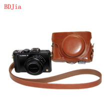 leather camera case camera bag for Panasonic Lumix DMC-LX7 LX7 LX5 LX3 Camera With Shoudler Strap in 3 colors,Free Shipping,