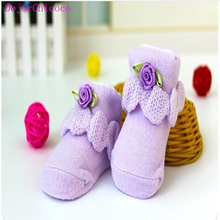 Cute Baby Sock 0-6 Months Newborns Pink Blue Cotton knitting Lovely Shoes Flower Bowknot Floor Socks Girl Warm Sock DejorChicoco