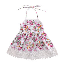Summer Toddlers Girls Kids Lace Floral Dress Halter Backless Princess Party Holiday Dresses