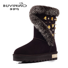 2016 New Luxury Designer Snow Boots for Women Rhinestone Winter Boots Rabbit Bunny Fur Botas Mujer Top Quality Mid-calf Boots