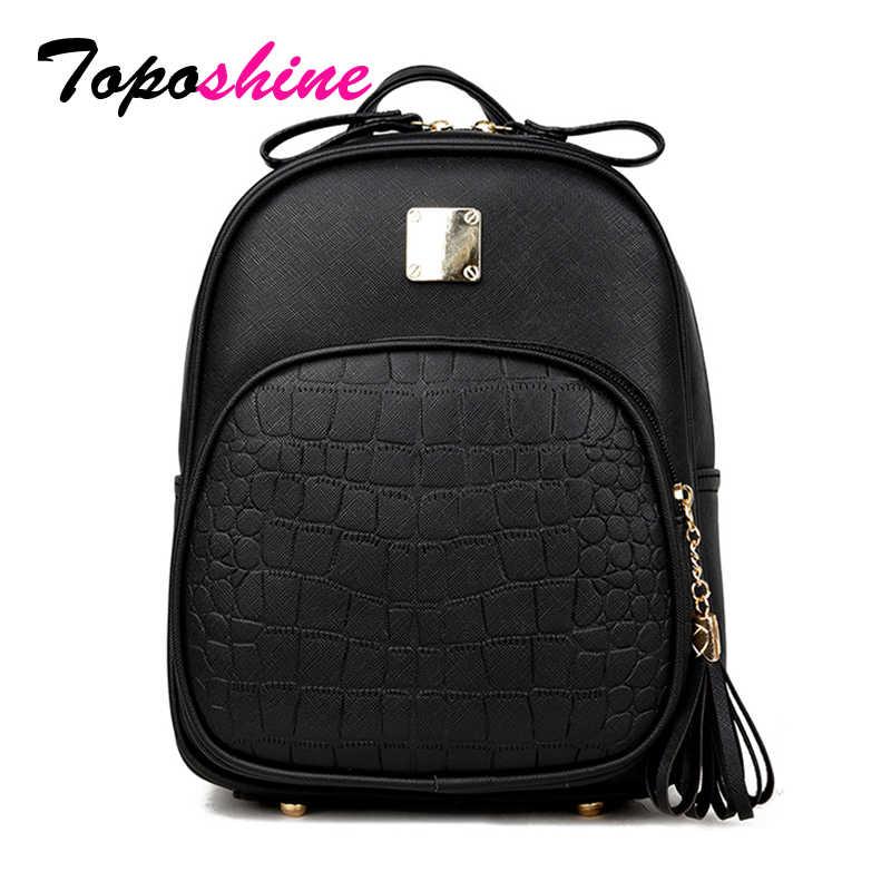 95bfae859e10 Toposhine 2018 новый корейский Рюкзаки Мода искусственная кожа сумка  крокодил узор небольшой рюкзак тиснением школьные ранцы