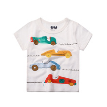 Baby Boy Cotton Shirts Cartoon Colorful Car Children Summer Short Sleeve T-Shirt Boy Girls Tops Tees Kids Clothes 2-7Y(China)