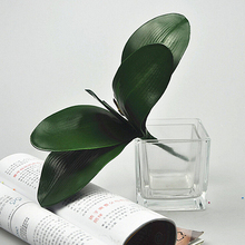 Artificial Green Rose Leaves/Butterfly Orchid Silk Leaf Beauty Plant Decor Silk Green Leaves For Wedding Decor Wreath Gift DIY(China)