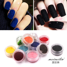 12 Color Hot Selling 3D Glitter Velvet Flocking Powder DIY Manicure Beauty Polish UV For Female Nail Care Acrylic Crystal Gel(China)