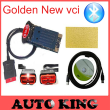 Gold color 2015.3 with keygen vd tcs cdp pro new vci Bluetooth for cars / trucks code reader obd2 diagnostic tool Free Shipping(China)