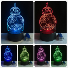 2017 Cartoon Movie BB8 Star Wars Robot Figures 3D LED Lamp 7 Colors Changing Lighting Ball Decor Kid Toys Night Light RGB Bulb(China)