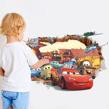 3D Vision Cracked Cartoon Cars Wall Stickers Vinyl Art Mural Baby Boys Home Room Decor Cute Cars Wall Stickers