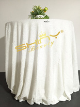 48''-132'' Round Choose Your Size White Sequin Tablecloth Wholesale Wedding Beautiful Sequin Table Cloth / Overlay /Cover