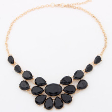 2016 New Fashion lady Banquet Accessories multicolour acrylic gem choker necklace Pendant jewelry statement bib necklace women(China)