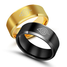 High quality ring Titanium steel jewelry Naruto rings 1PCS 8mm width size 6-12 silver\black\golden rings free shipping