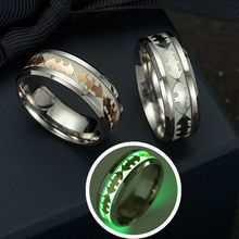 Fashion Stainless Steel Batman Pattern Ring New Design Luminous Band Ring Glow In The Dark for Couples Man Jewelry Wholesale(China)