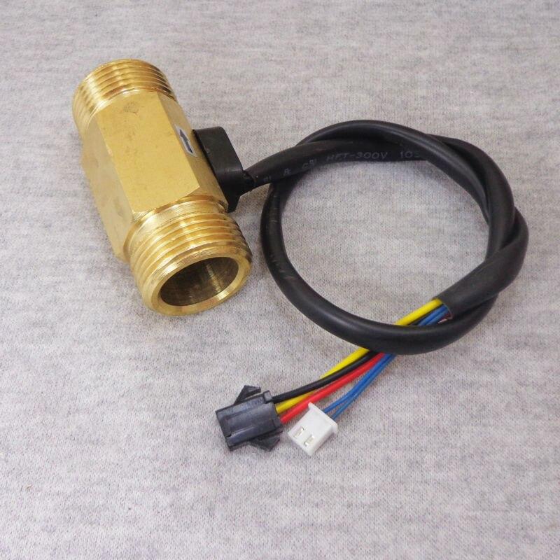 24V USC-HS43TBT Hall Effect Water Flow Sensor 2-L/min G3/4 Threaded Ends Repeat Error 1% Brass Turbine Flowmeter for Purifier<br><br>Aliexpress