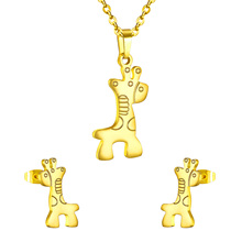 New Gold Vacuum Plating,Fashion Giraffe Earrings And Giraffe Stainless Steel Set,Hot Selling Top Quality,Free Chain