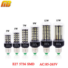 [MingBen]LED Bulb SMD 5736 E27 LEDs Lamp Light 3W 5W 7W 9W 12W 15W LED Corn Light AC85V-265V Lampada No Flicker Constant Current(China)