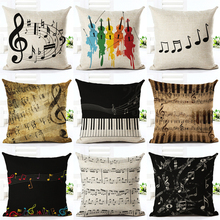 Music Series Note Printed High Qulity Cotton Linen Decorative Cushion Cover Pillow Case Car Seat 45*45cm Pillowcase(China)