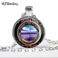 1 Pc Art Pendant Necklace Image of a Vintage Zeiss Ikon Camera Lens Sunset Beach Glass Cabochon Necklace HZ1(China)