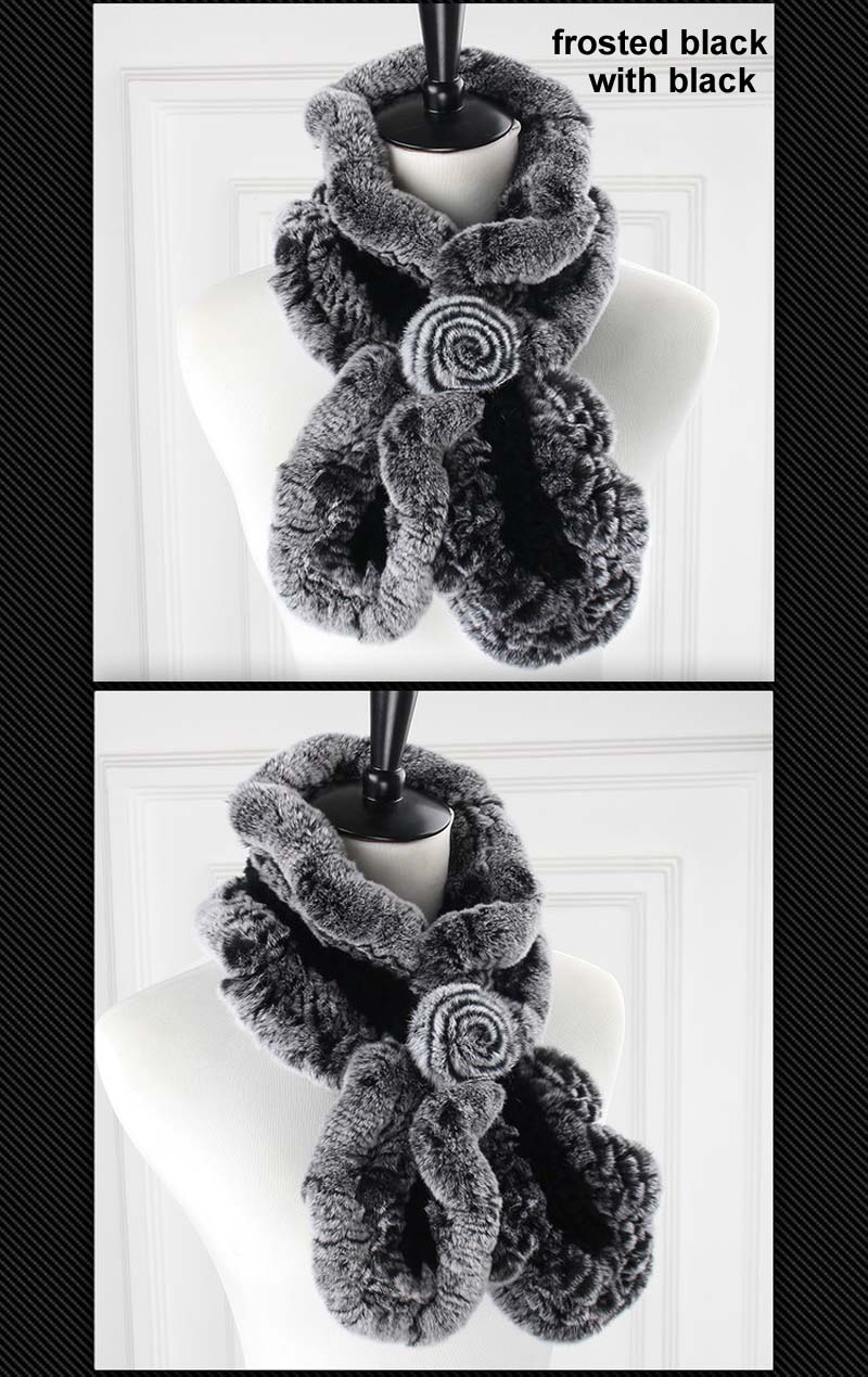 rex wavy scarf frosted black with black