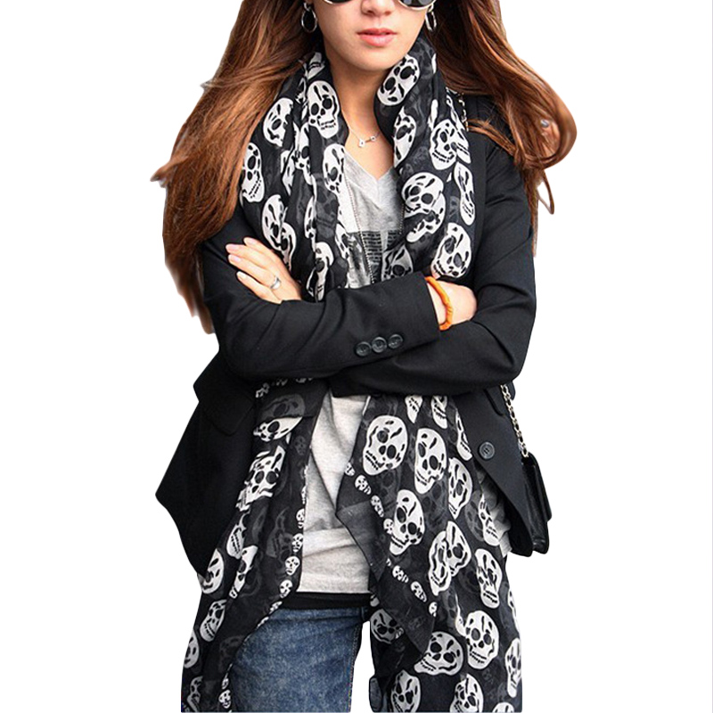 2017 New Fashion Women Ladies Girls Cool Big Skull Head Skeleton Scarf Neck Wrap Shawl Stole Warm Winter Pashmina(China)