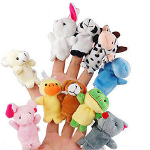 10pcs/Lot Cartoon Animal Velvet Finger Puppet Finger Toy Finger Doll Baby Cloth Educational Hand Toy Story(China)