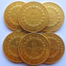 France 1878-1904 6pcs Constitution 50 Francs Gold-Plated High Quality Copy Coins