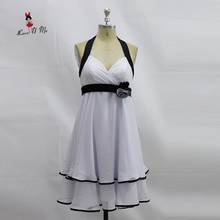 Vintage White Black Bridesmaid Dress Short Cheap Wedding Guest Dresses 2017 China Party Dress Halter Knee Length Vestidos Curto