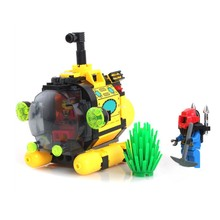 122pcs Treasure Hunt Tiny Submarine Military Technology Building Blocks Sets Model Educational DIY Bricks Toys For Children