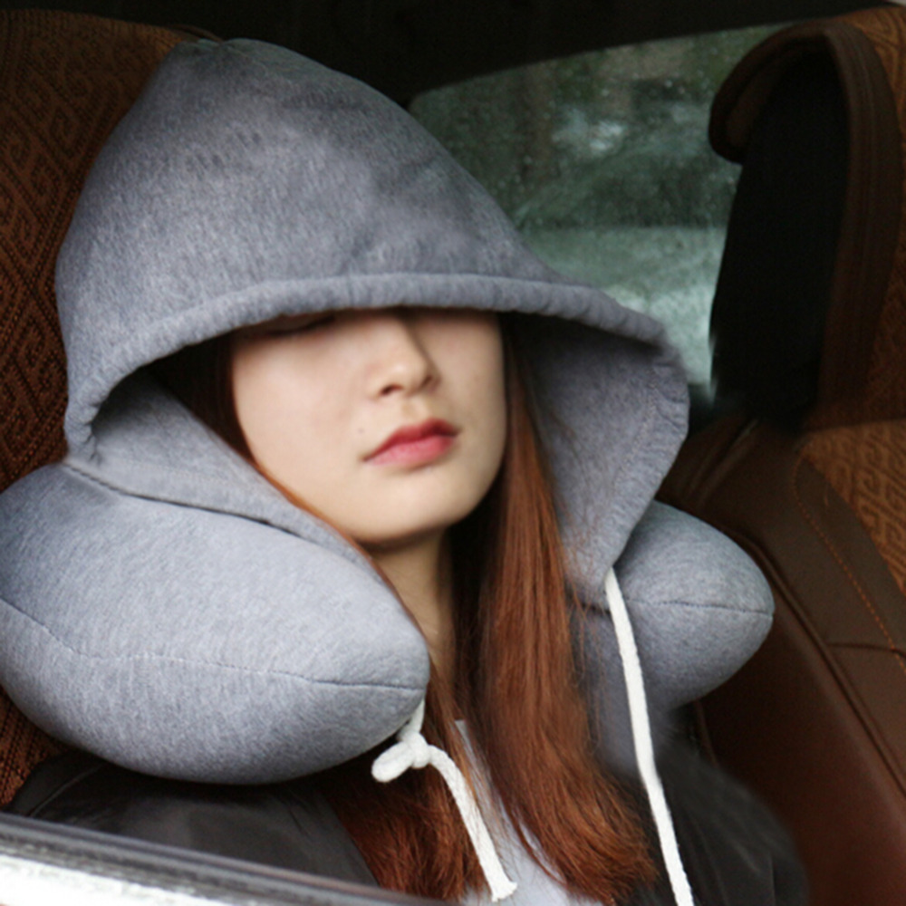Soft-Hooded-U-pillow-Body-Neck-Pillow-Solid-Grey-Nap-Cotton-Particle-Pillow-Textile-Home-Airplane