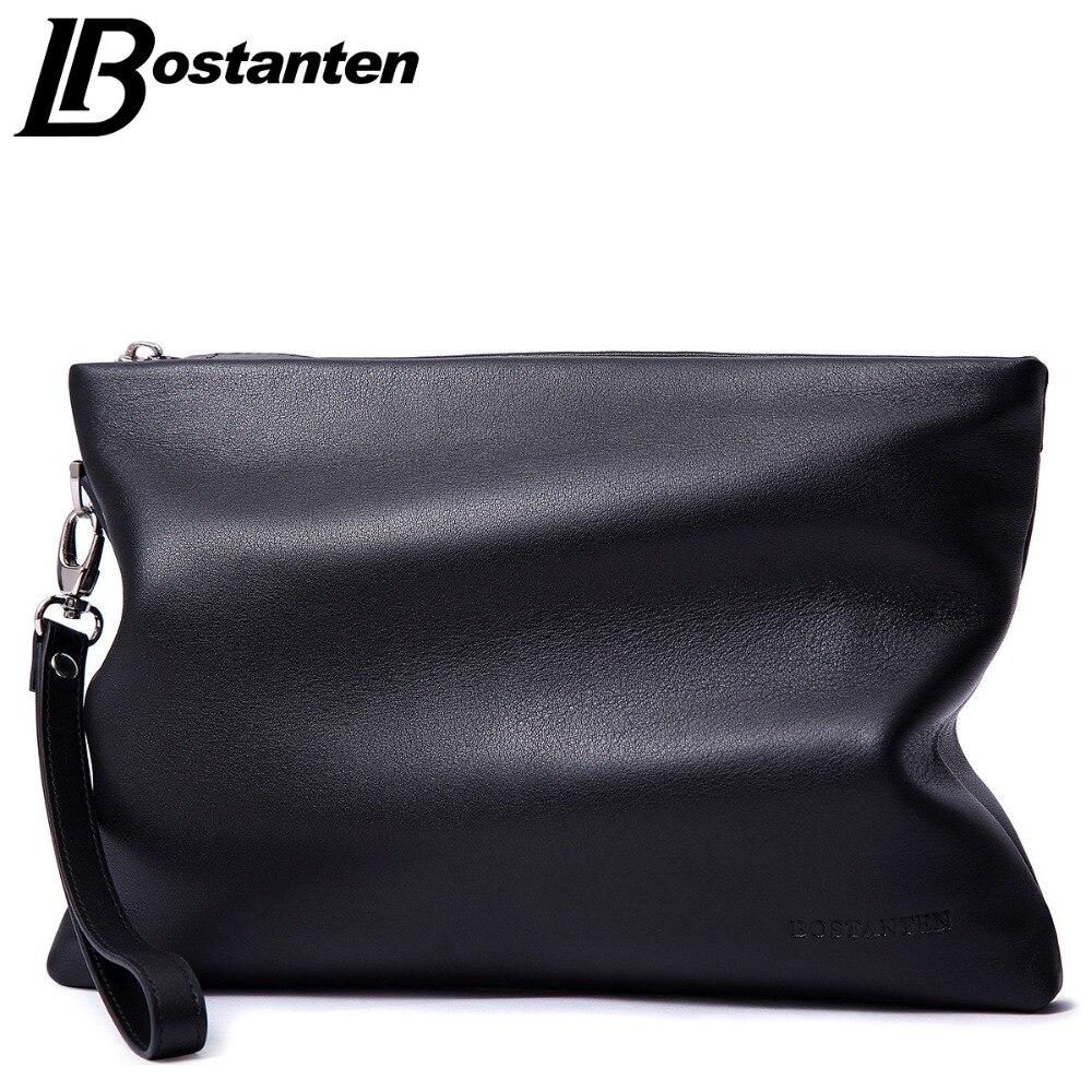 BOSTANTEN Brand Soft Cow Genuine Leather Men Clutch Bags Large Capacity Men Wallets Purse Long Strap Envelope Wristlet Carteras<br>