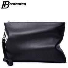 BOSTANTEN Brand Soft Cow Genuine Leather Men Clutch Bags Large Capacity Men Wallets Purse Long Strap Envelope Wristlet Carteras(China)